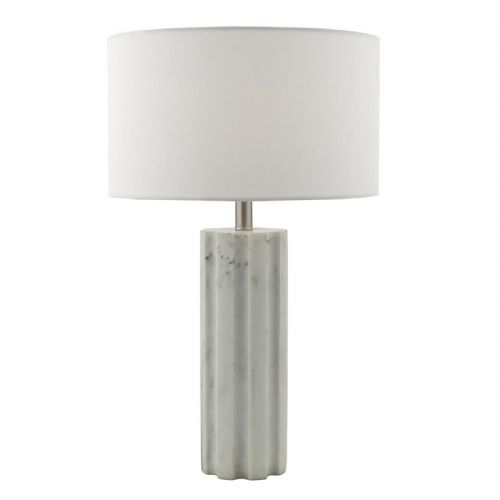 Erebus Table Lamp Marble Effect Satin Chrome complete with Shade (Class 2 Double Insulated)